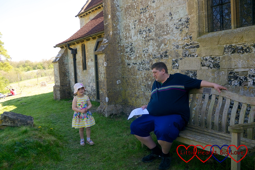 Sophie and hubby outside St Giles Church in Imber