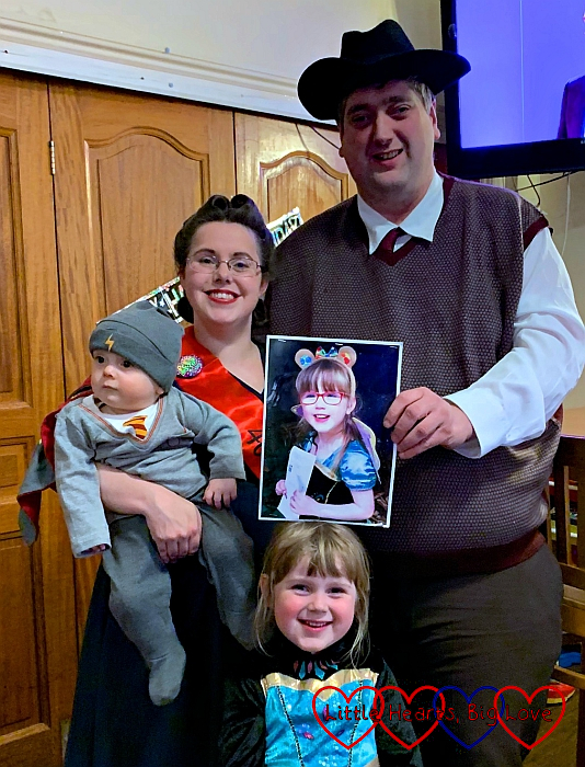 Me and hubby (in 1940s outfits), Thomas (dressed as Harry Potter) and Sophie (dressed as a princess) with a picture of Jessica in a princess outfit at my 40th birthday party