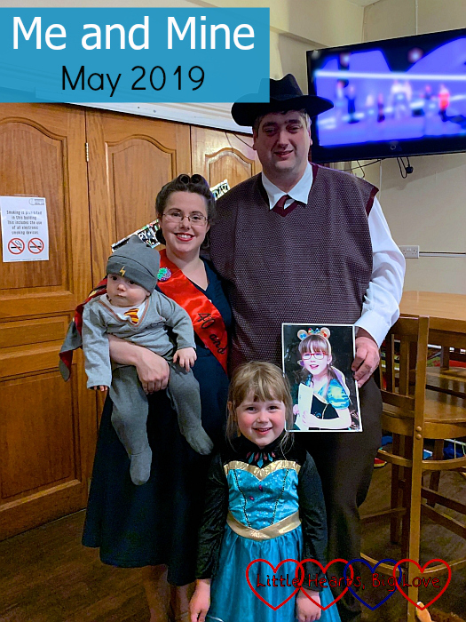 "Me and hubby (in 1940s outfits), Thomas (dressed as Harry Potter) and Sophie (dressed as a princess) with a picture of Jessica in a princess outfit at my 40th birthday party - ""Me and Mine - May 2019"""