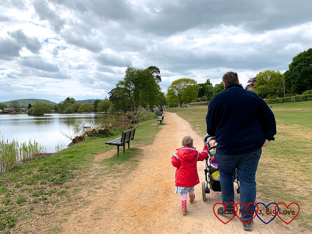 Sophie, and hubby with Thomas in the buggy walking around Petersfield Heath lake
