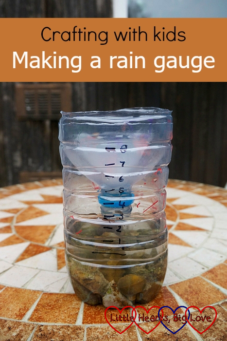 "A rain gauge made from a plastic bottle - ""Crafting with kids: making a rain gauge"""