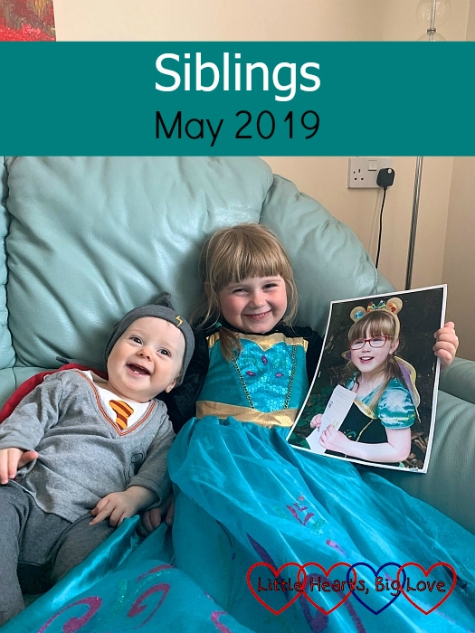 "Thomas in a Harry Potter sleepsuit and Sophie in a princess dress holding a picture of Jessica in a princess dress - ""Siblings - May 2019"""