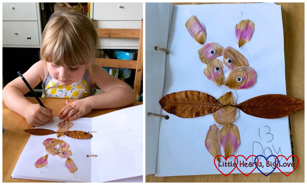 "Sophie sticking petals in her nature journal; Sophie's ""petal monster"""