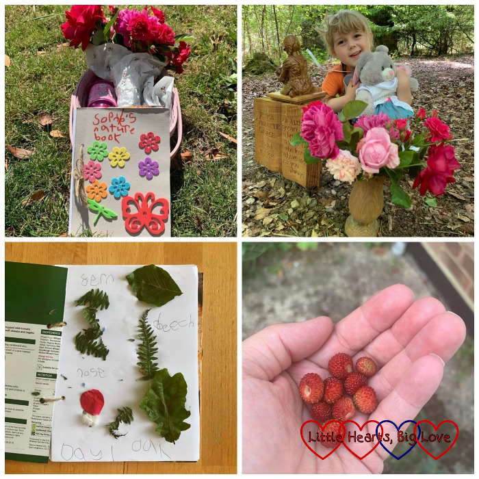 Sophie's nature journal; Sophie at Jessica's forever bed; leaves and petals stuck in Sophie's nature journal; a handful of wild strawberries