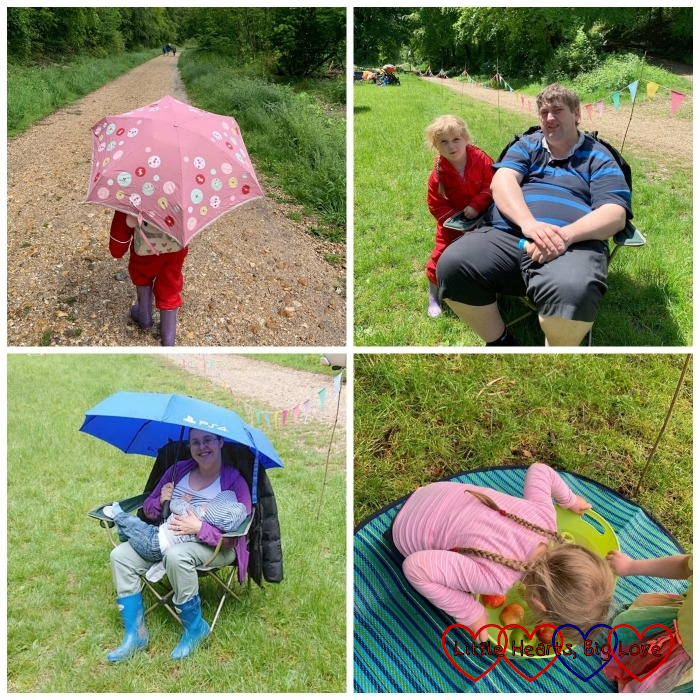 Sophie under an umbrella; Sophie and Daddy sitting outside; me breastfeeding Thomas under an umbrella; Sophie doing some apple bobbing