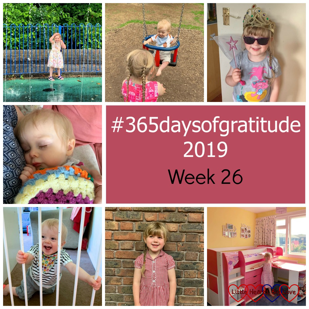 "Sophie at the splash park; Sophie pushing Thomas on the swing; Sophie wearing sunglasses and a crown and holding a wand; Thomas asleep in my arms; Thomas at the stairgate in the doorway to the lounge; Sophie in her school dress against a brick wall; Sophie next to the cabin bed in her new bedroom - ""#365daysofgratitude 2019 - Week 26"""