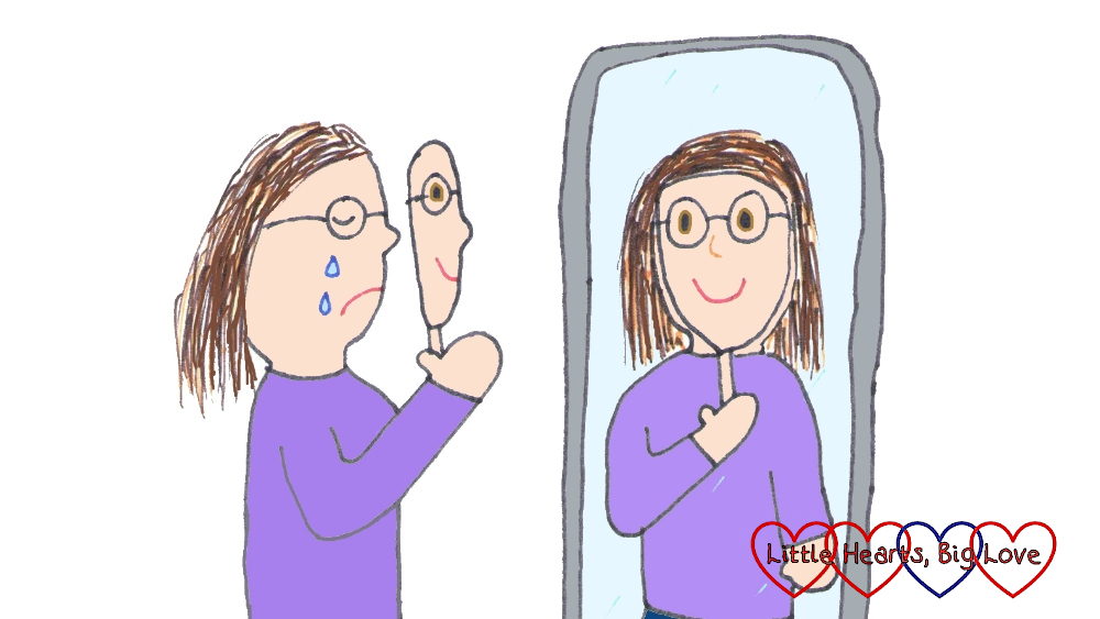 A drawing of me looking sad, holding a happy mask in front of my face and looking into a mirror