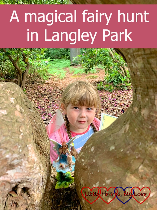 "Sophie looking at a fairy in a tree - ""A magical fairy hunt in Langley Park"""