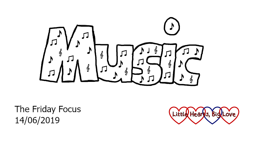 The word 'music' with notes drawn inside