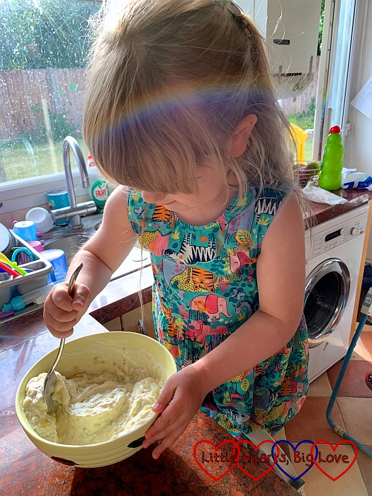 Sophie stirring the gooseberry fool