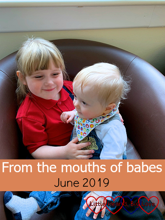 "Sophie sitting on a chair cuddling Thomas - ""From the mouths of babes - June 2019"""
