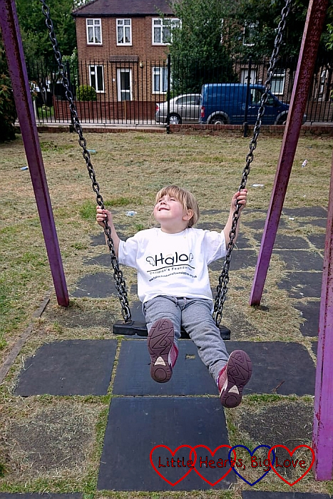 Sophie on the swing at Barra Hall Park