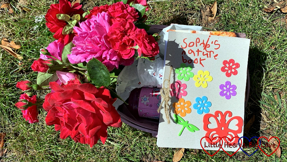 Sophie's nature journal with a bouquet of roses