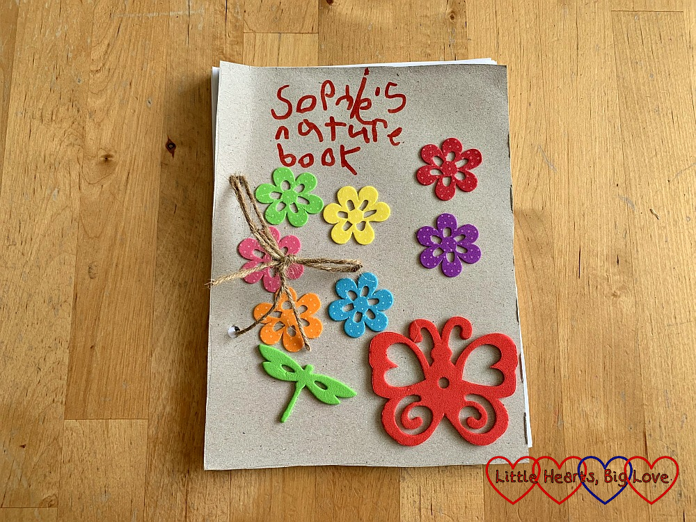 The front cover of Sophie's nature journal