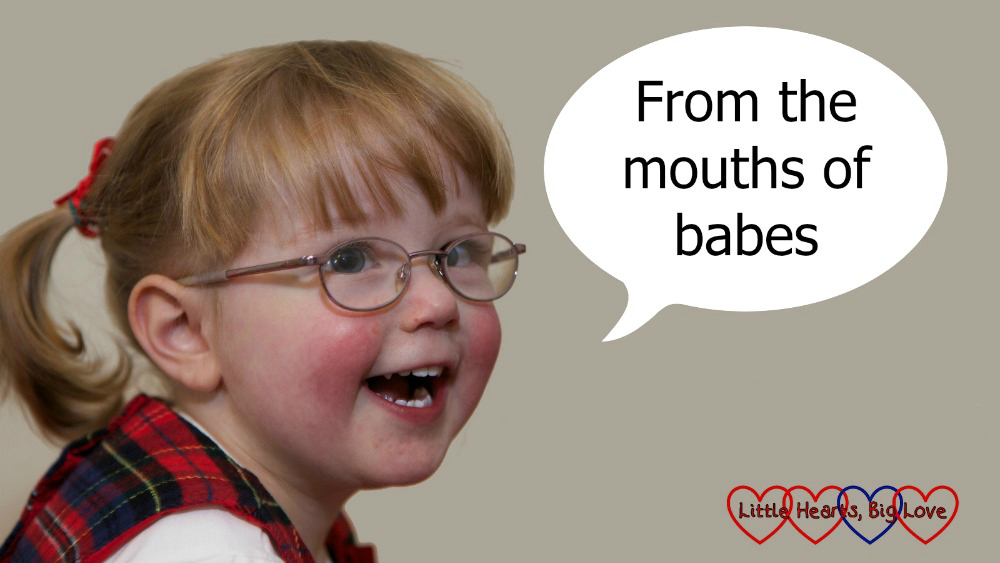 "Jessica as a toddler with a speech bubble saying ""From the mouths of babes"""