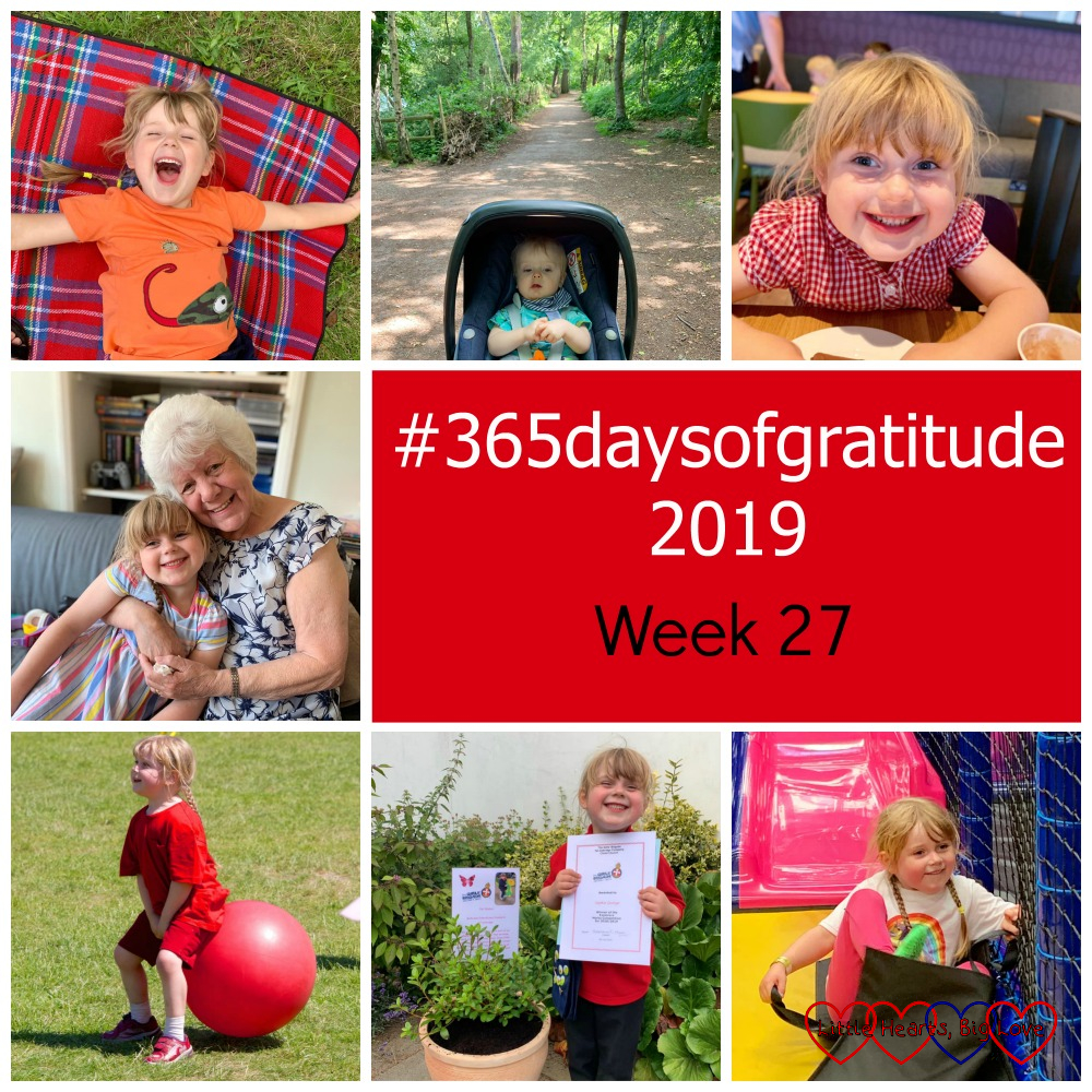 "A happy Sophie lying on a picnic blanket; Thomas in his buggy at Black Park; Sophie enjoying a chocolate babycino after school; Sophie with Nanny; Sophie on a space hopper at sports day; Sophie with her marks certificate next to the azalea planted in memory of Jessica; Sophie coming down the slide at her friend's party - ""#365daysofgratitude 2019 - Week 27"""