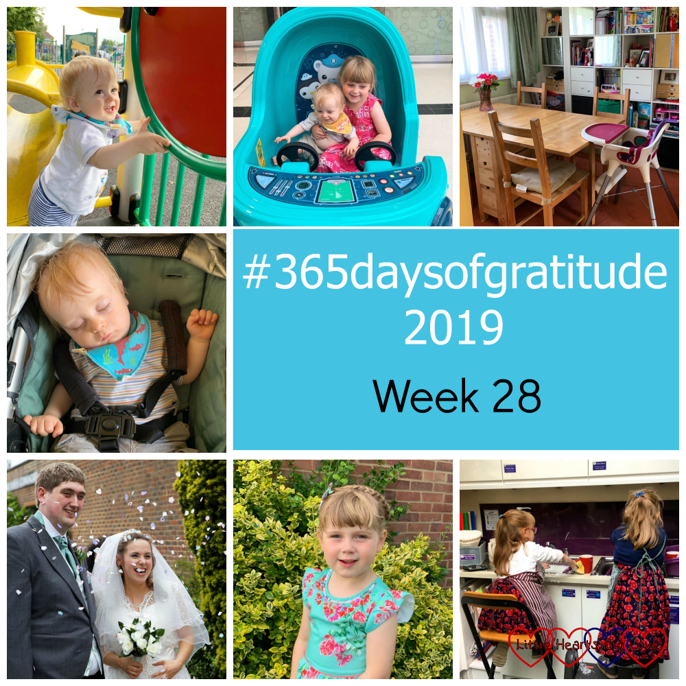 "Thomas standing up at the park; Sophie and Thomas in an Octonauts ride; my empty dining room table; Thomas asleep in his buggy; me and hubby on our wedding day; Sophie in a pretty dress ready for her school disco; Jessica and Sophie helping with the washing up at church - ""#365daysofgratitude 2019 - Week 28"""