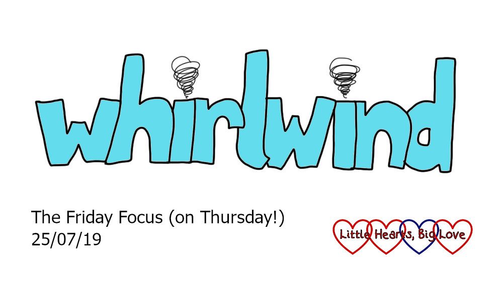 The word 'whirlwind' with mini whirlwinds in place of the dots over the i's
