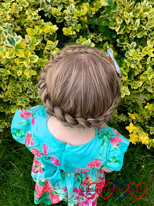 Sophie's hair in a coronet braid