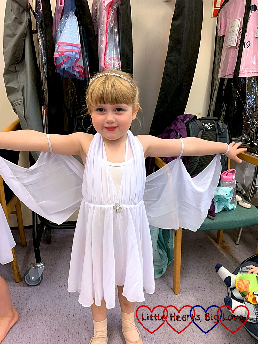 Sophie wearing her white ballet show dress