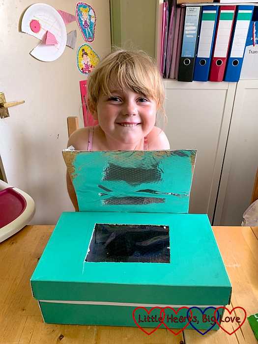 Sophie with her finished solar oven