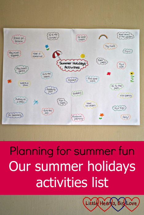 """Our mind map with various summer holiday activities written out on it - """"Planning for summer fun: our summer holidays activities list"""""""