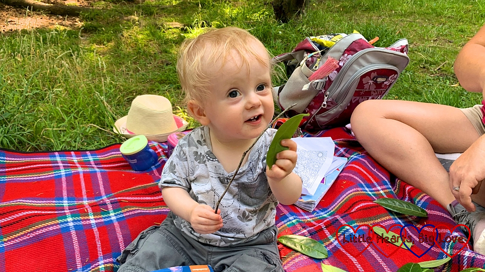 Thomas the day before his first birthday sitting and having a picnic