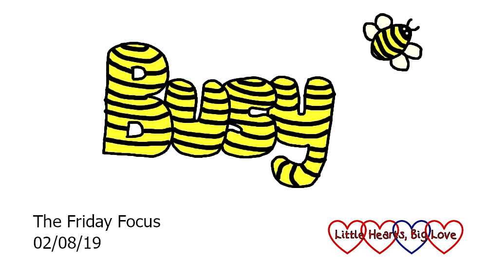The word 'busy' in yellow with black stripes and a busy bee flying next to it