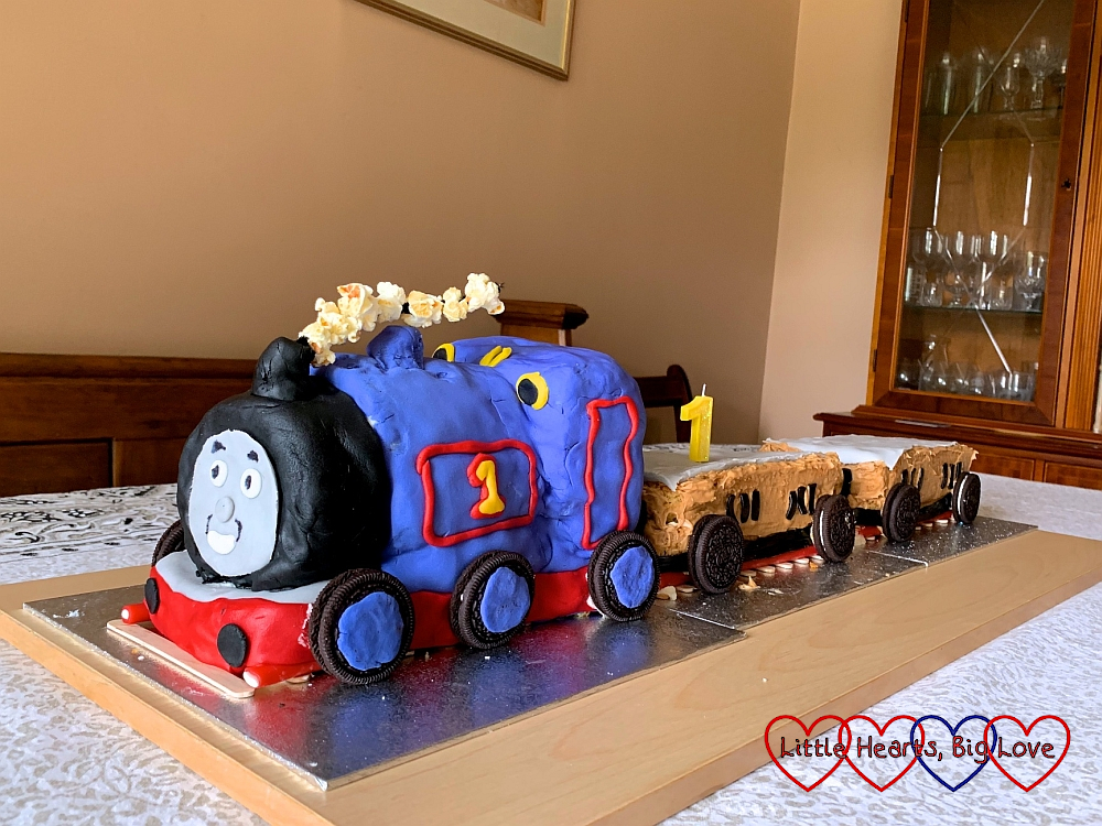 The Thomas the Tank Engine cake I made for Thomas complete with Annie and Clarabelle cake carriages