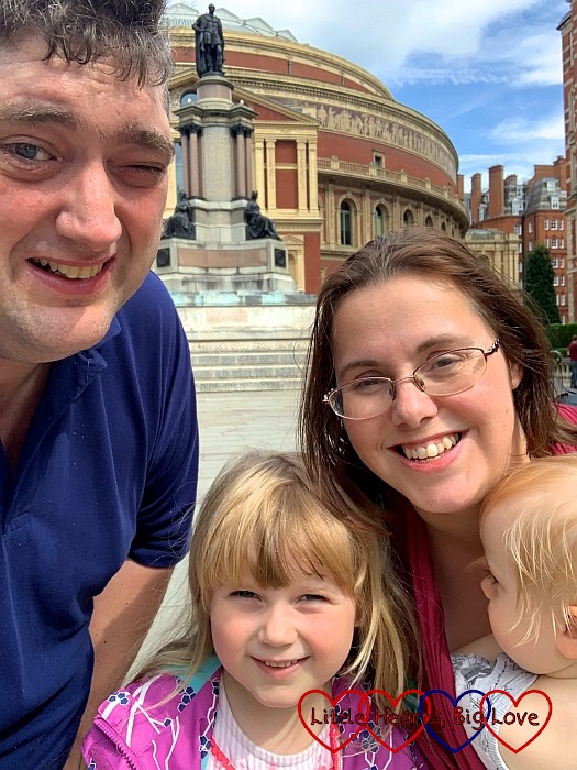 Hubby, me, Sophie and Thomas outside the Royal Albert Hall