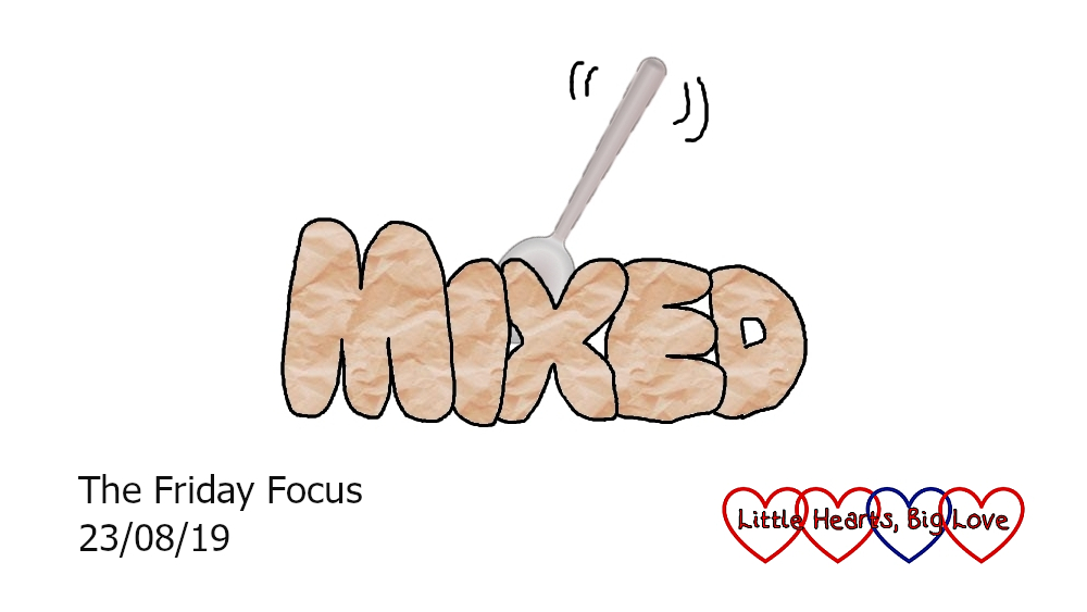 "The word 'mixed' with a mixing spoon behind the ""ix"""