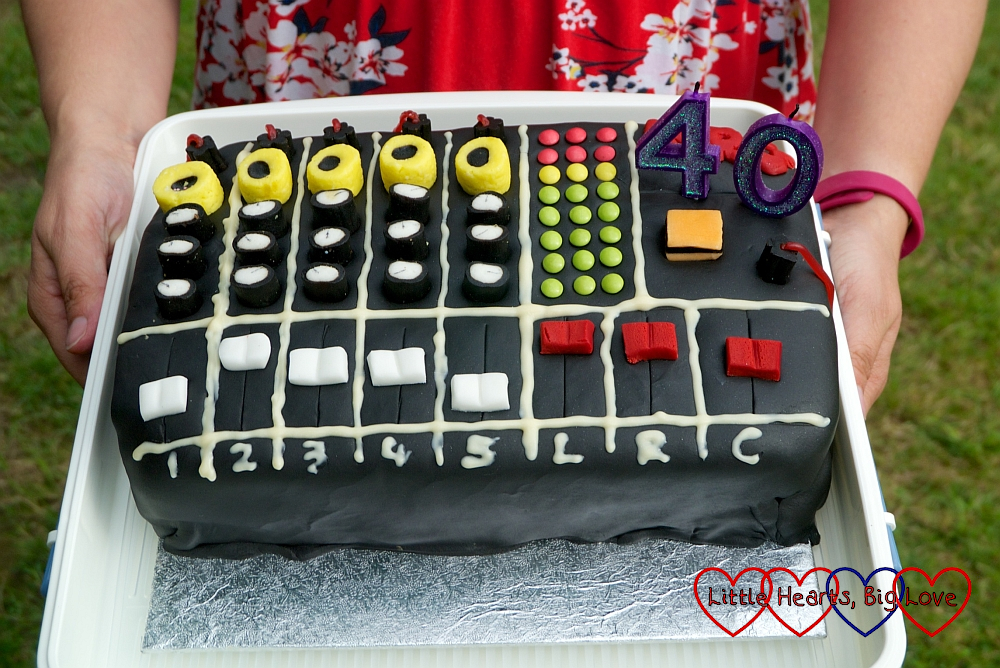 My mixing desk cake with liquoriceuk allsorts dials and buttons
