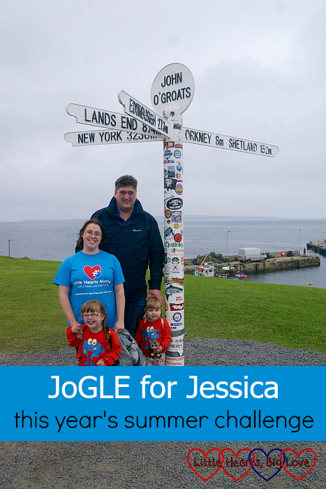 "Me, hubby, Jessica and Sophie at John O'Groats - ""JoGLE for Jessica - this year's summer challenge"""