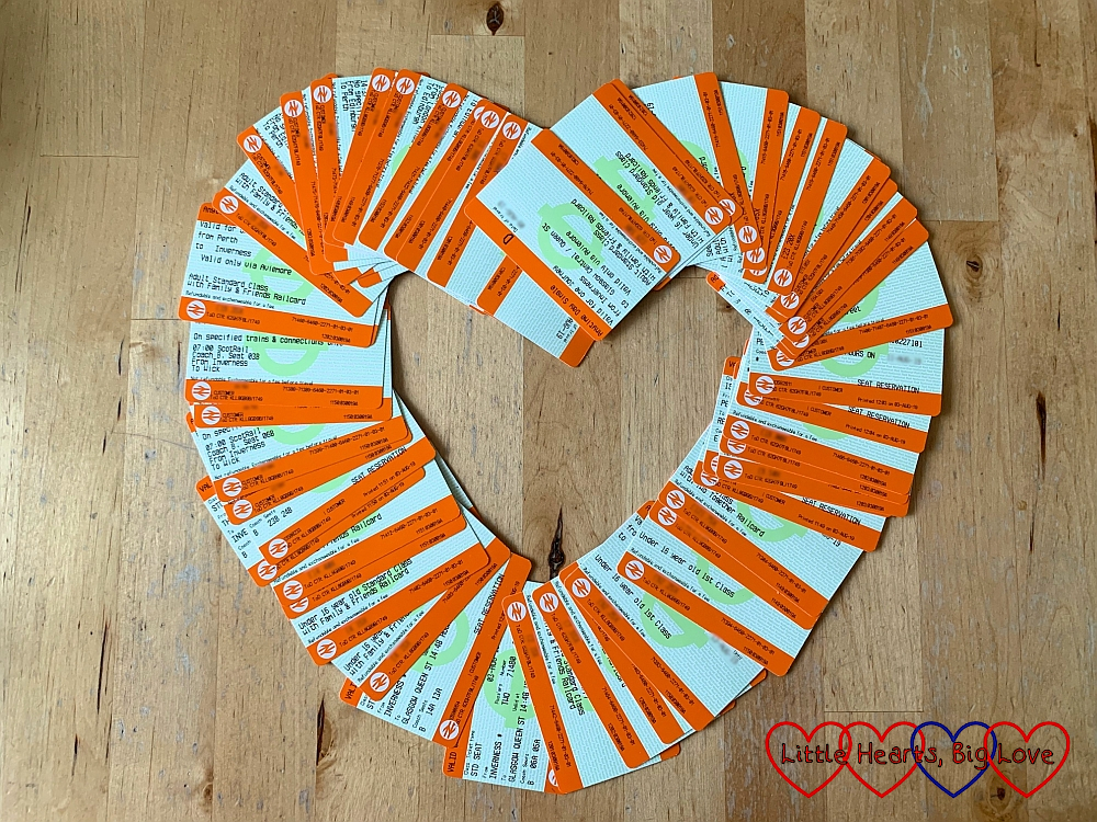 Our train tickets for JoGLE arranged in a heart shape
