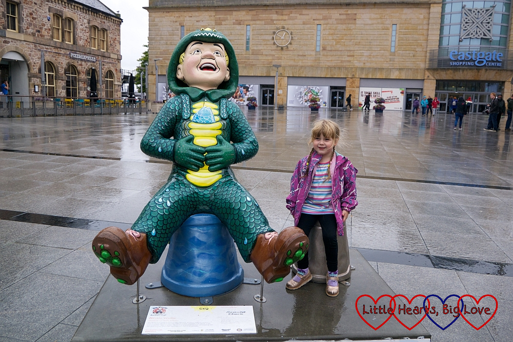 Sophie with the 'Nessie Wullie' Oor Wullie sculpture in Inverness