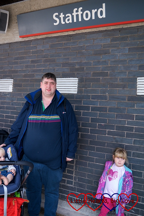 Hubby, Thomas and Sophie at Stafford station