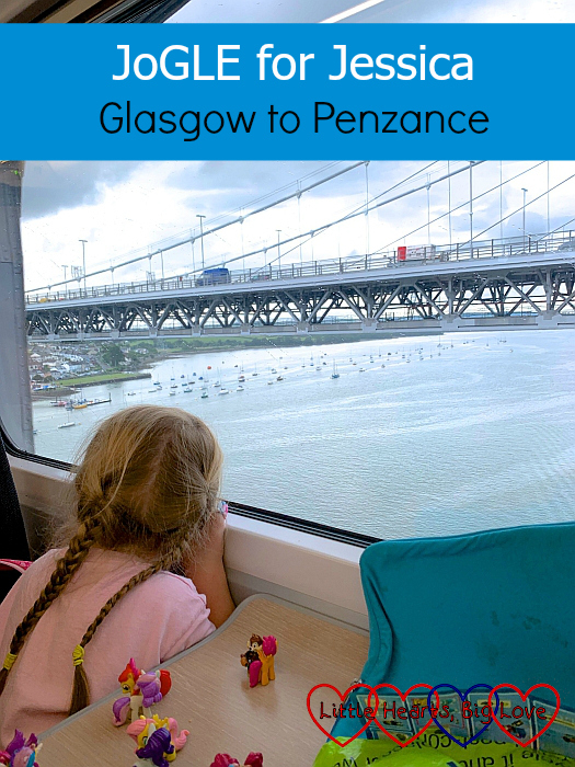 """Sophie looking out of the train window as we cross the Tamar into Cornwall - """"JoGLE for Jessica - Glasgow to Penzance"""""""
