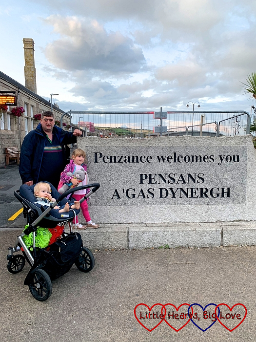 Hubby, Sophie and Thomas outside Penzance railway station