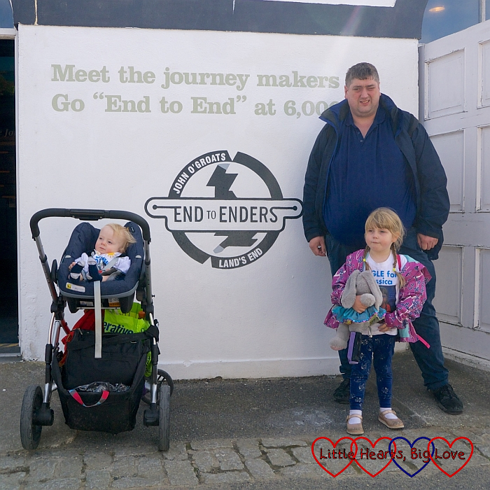 "Hubby, Sophie and Thomas by the ""End to Enders"" sign at Land's End"