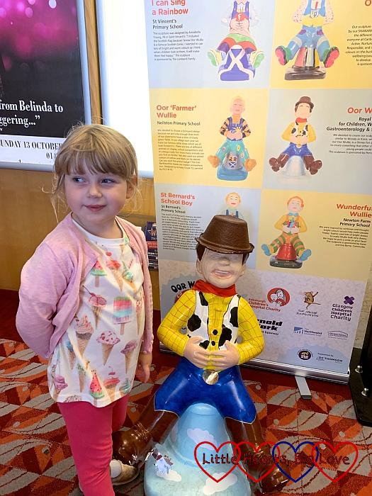Sophie with the 'Oor Woody' Wee Oor Wullie sculpture
