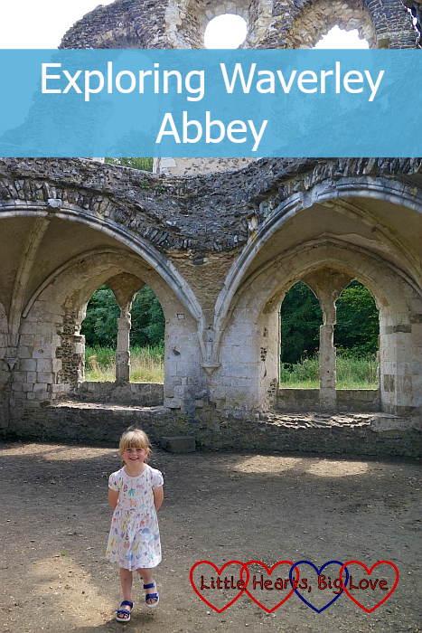 "Sophie standing amongst the ruins of Waverley Abbey - ""Exploring Waverley Abbey"""