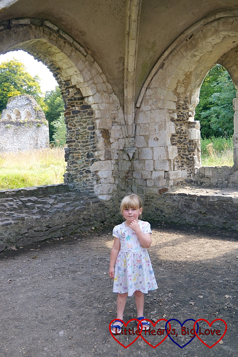 Sophie standing amongst the ruins of Waverley Abbey
