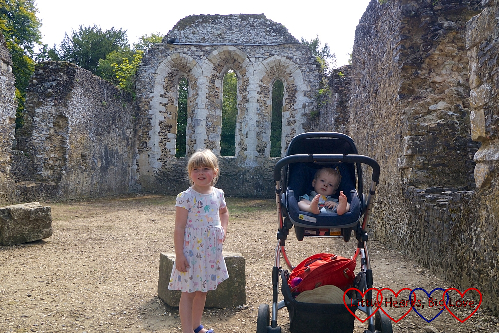 Sophie and Thomas (in his buggy) amongst the ruins of Waverley Abbey
