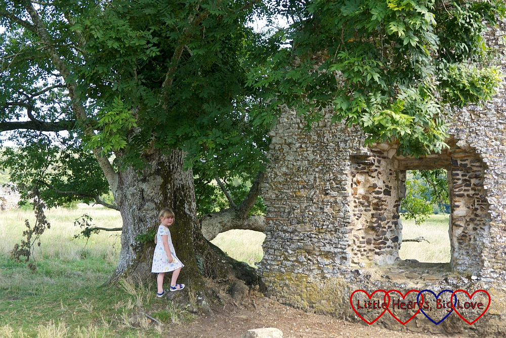 Sophie standing next to a tree near one of the walls of Waverley Abbey