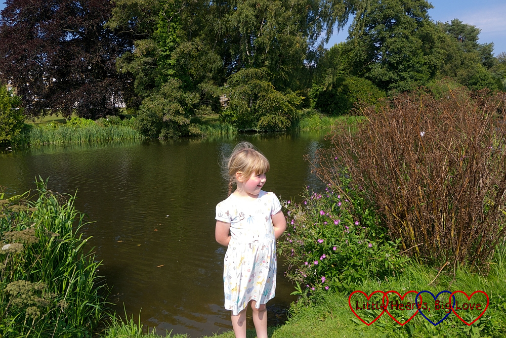 Sophie standing by a lake near Waverley Abbey