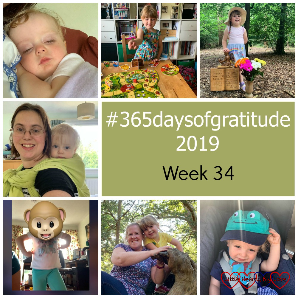 "Thomas asleep on me; Sophie playing the Three Little Pigs game; Sophie at Jessica's forever bed; me with Thomas wrapped on my back; Sophie with a monkey-head filter on FaceTime; Sophie and Godmummy Katy sitting on a tree branch; Thomas wearing his frog sunhat - ""#365daysofgratitude 2019 - Week 34"""