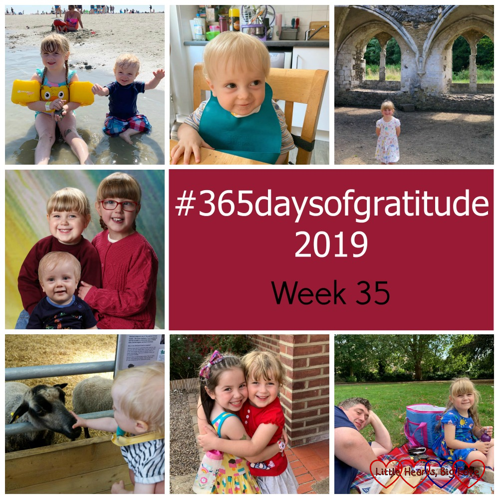 "Sophie and Thomas sitting in a shallow pool on the beach; Thomas sitting at the table; Sophie at Waverley Abbey; a photo of Jessica, Sophie and Thomas; Thomas looking at a sheep; Sophie hugging her friend; Daddy and Sophie having a picnic -""#365daysofgratitude 2019 - Week 35"""
