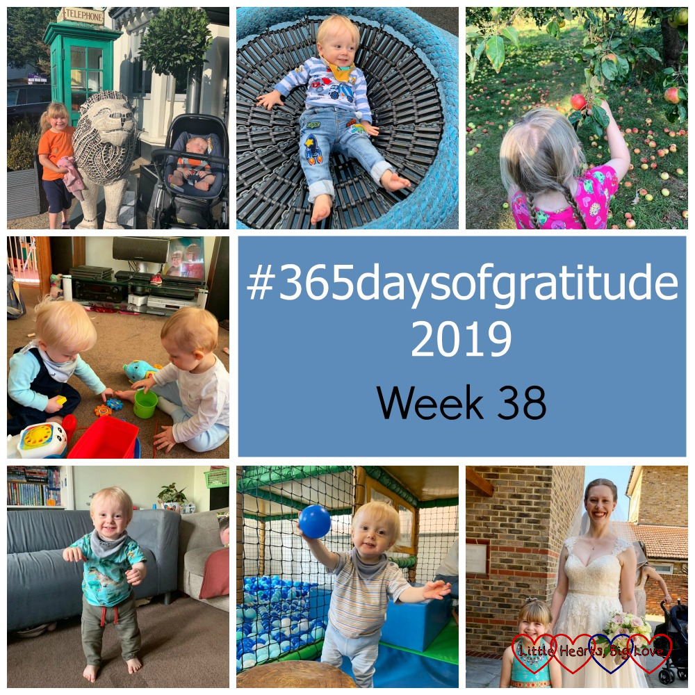 """Sophie and Thomas with one of the Lions of Windsor sculptures; Thomas on a swing at the park; Sophie picking apples; Thomas with my friend's baby boy; Thomas walking across the room; Thomas holding a ball at soft play; Sophie with my friend on her wedding day - """"#365daysofgratitude 2019 - Week 38"""""""