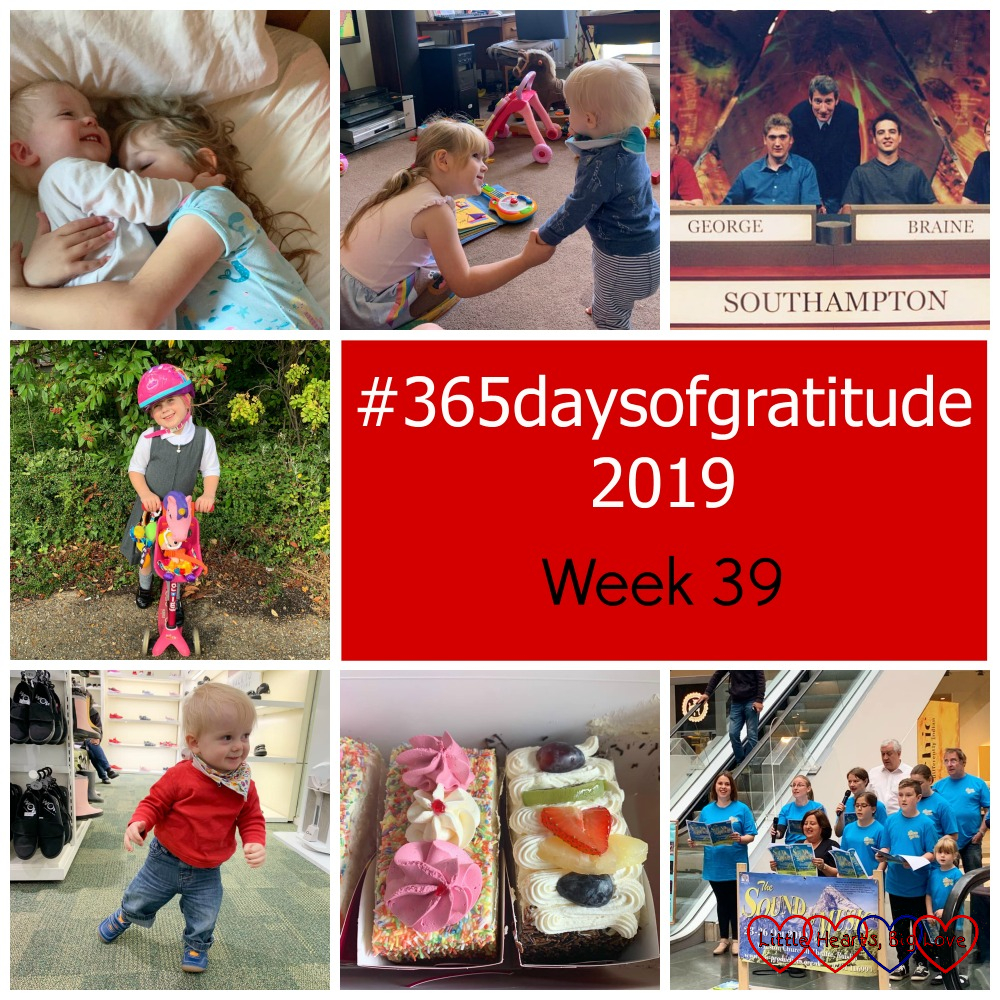 "Sophie cuddling Thomas; Sophie holding Thomas's hand while he walks across the lounge; my hubby on University Challenge in 2000; Sophie on her scooter; Thomas in his new shoes at the shoe shop; two slices of cream cake; me with my fellow Sound of Music cast members singing at the local shopping centre - ""#365daysofgratitude 2019 - Week 39"""