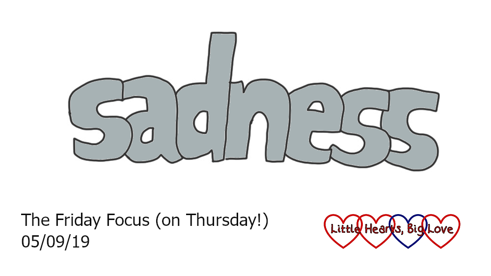 The word 'sadness' in grey